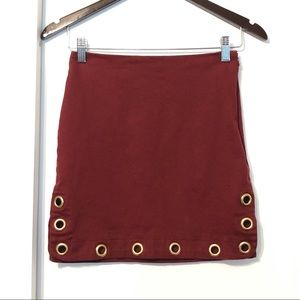 Maroon Wine Red Grommets Mini Skirt